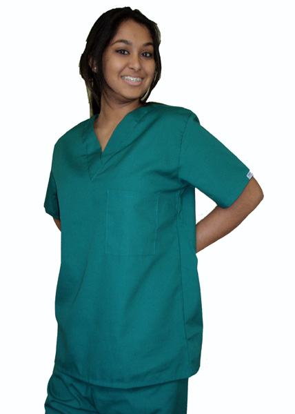 Hunter Green Drawstring Scrub Set, XL